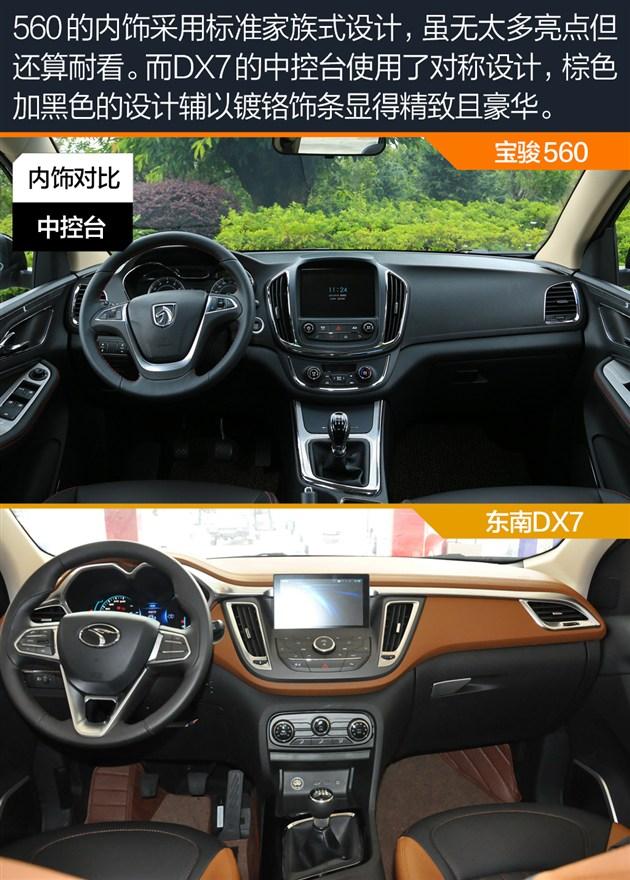 宝骏560对比东南DX7 内饰及配置对比高清图片