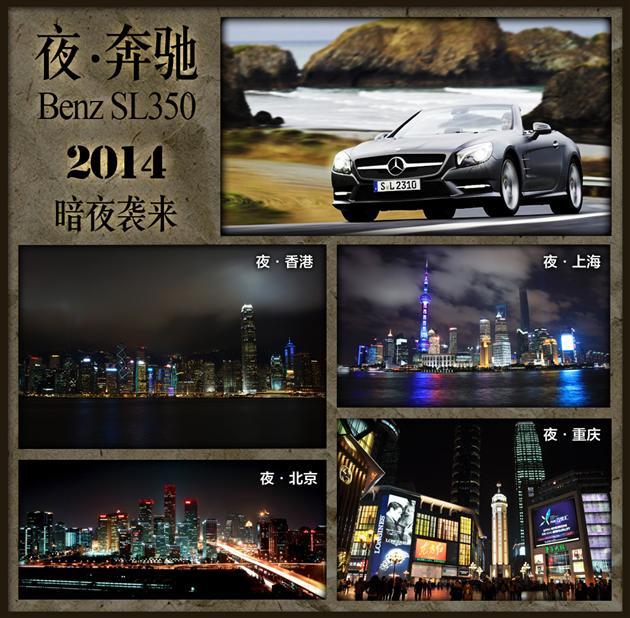 梅赛德斯-奔驰sl350穿梭在位于中国东、南、西、北四座最大城高清图片