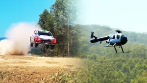 现代i20拉力赛车迎战直升机