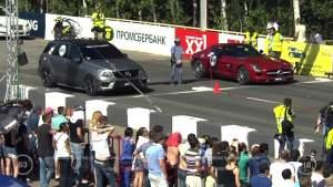莫斯科直线加速 奔驰SLS AMG完胜ML63