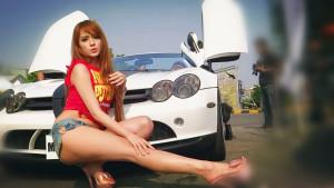 奔驰SLR麦凯伦敞蓬版 长腿气质女郎