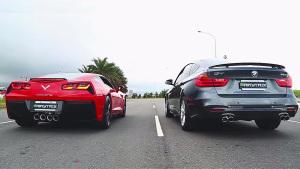 雪佛兰科尔维特vs宝马320i GT 声浪比拼