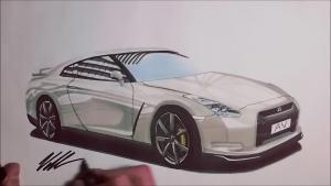 快速手绘日产GT-R 3分钟拥有赛道战神
