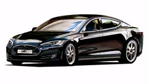 达人传神手绘 电动轿车特斯拉Model S