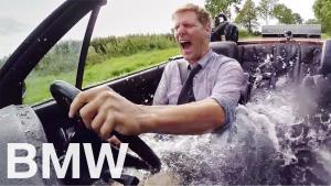 开着水疗浴缸宝马敞篷车去玩惊人的兜风体验