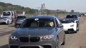 林宝坚尼Aventador LP700 与宝马M5 F90的直线比赛