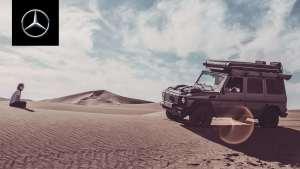 奔驰G级越野车:摩洛哥的家庭在沙漠冒险露营性能展示