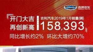 开门大吉!吉利汽车2019年1月销量15.84万,再创新高