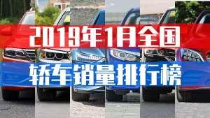 全国轿车销量2019年1月份排名,大众旗下3款车型上榜