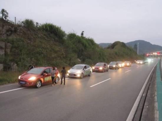 00整队进入德化高速路口,前往永春牛姆林.图片